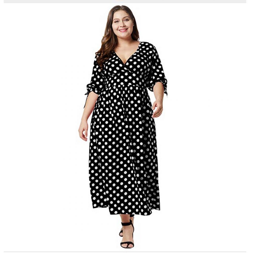 Retro Women Plus Size Empire Waist A Line Long Polka Dot Maxi Dress