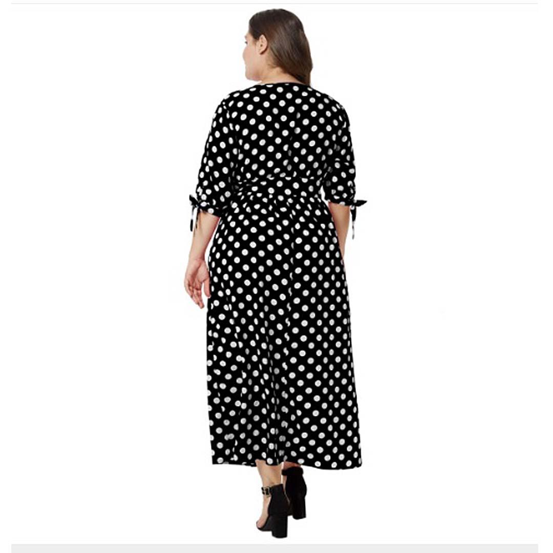 7ca9b7f64bc07 Retro Women Plus Size Empire Waist A Line Long Polka Dot Maxi Dress