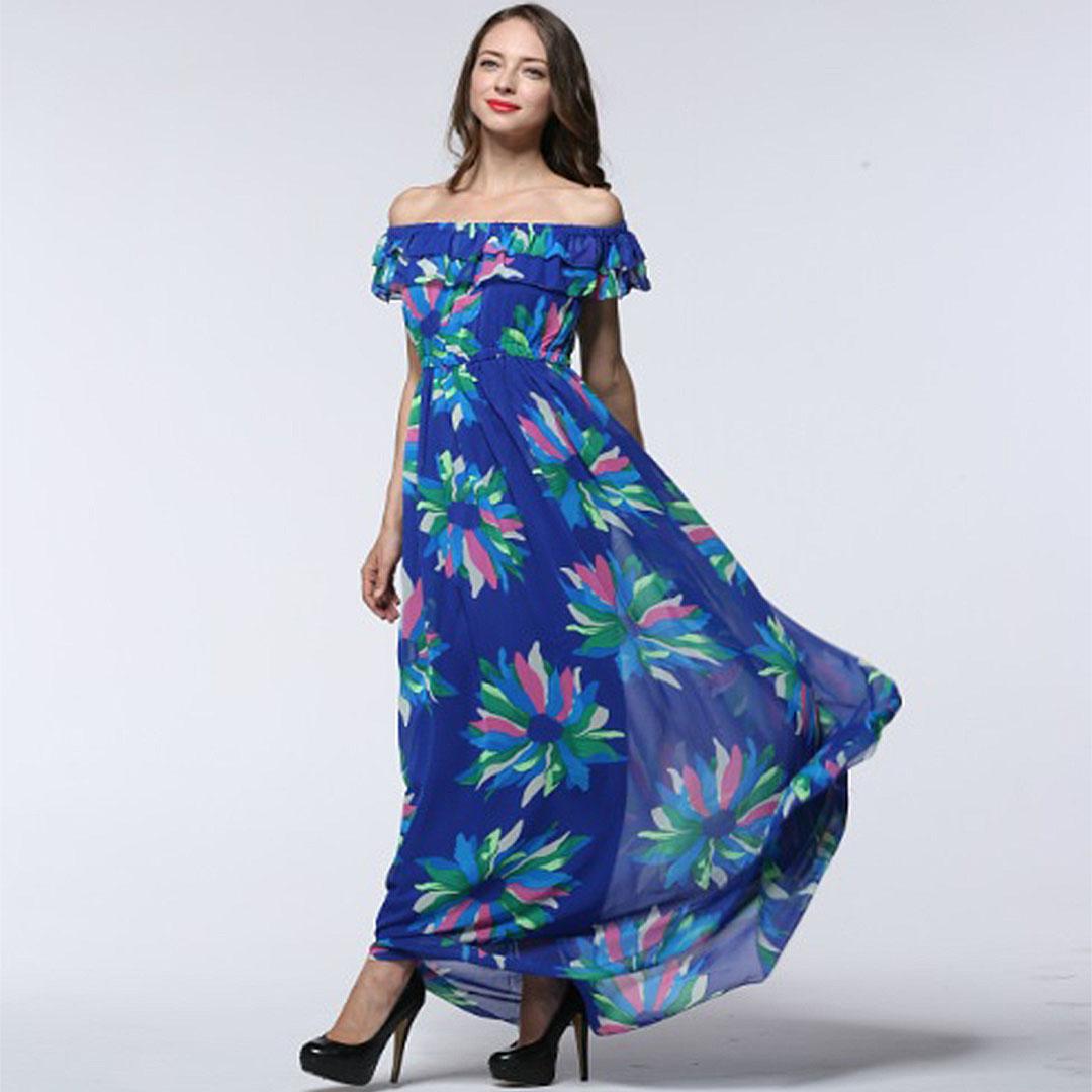 Boho Women Floral Print Long Chiffon Plus Size Convertible Dress