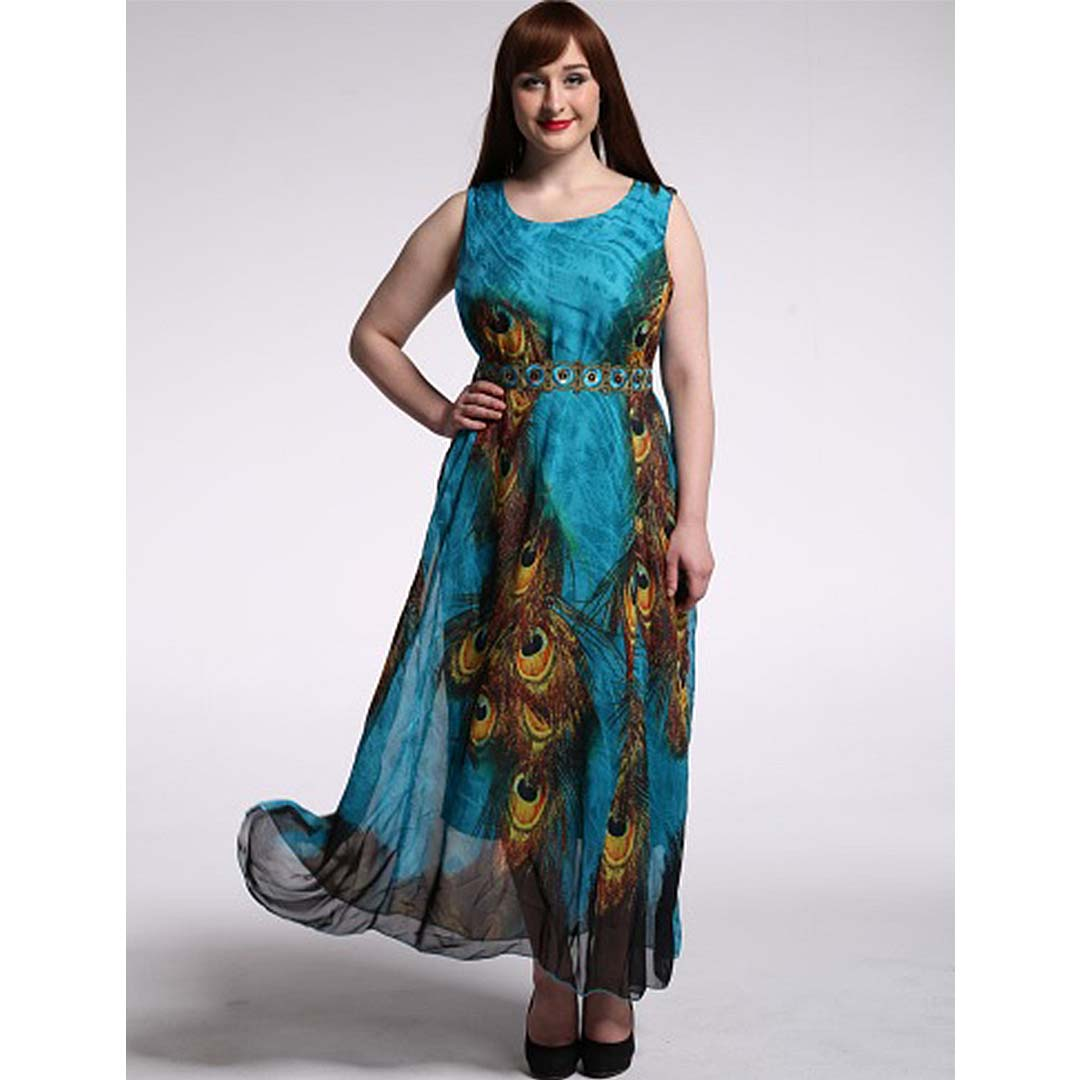 730fc80e8617 Women Peacock Print Belted Sleeveless Plus Size Boho Maxi Dress ...