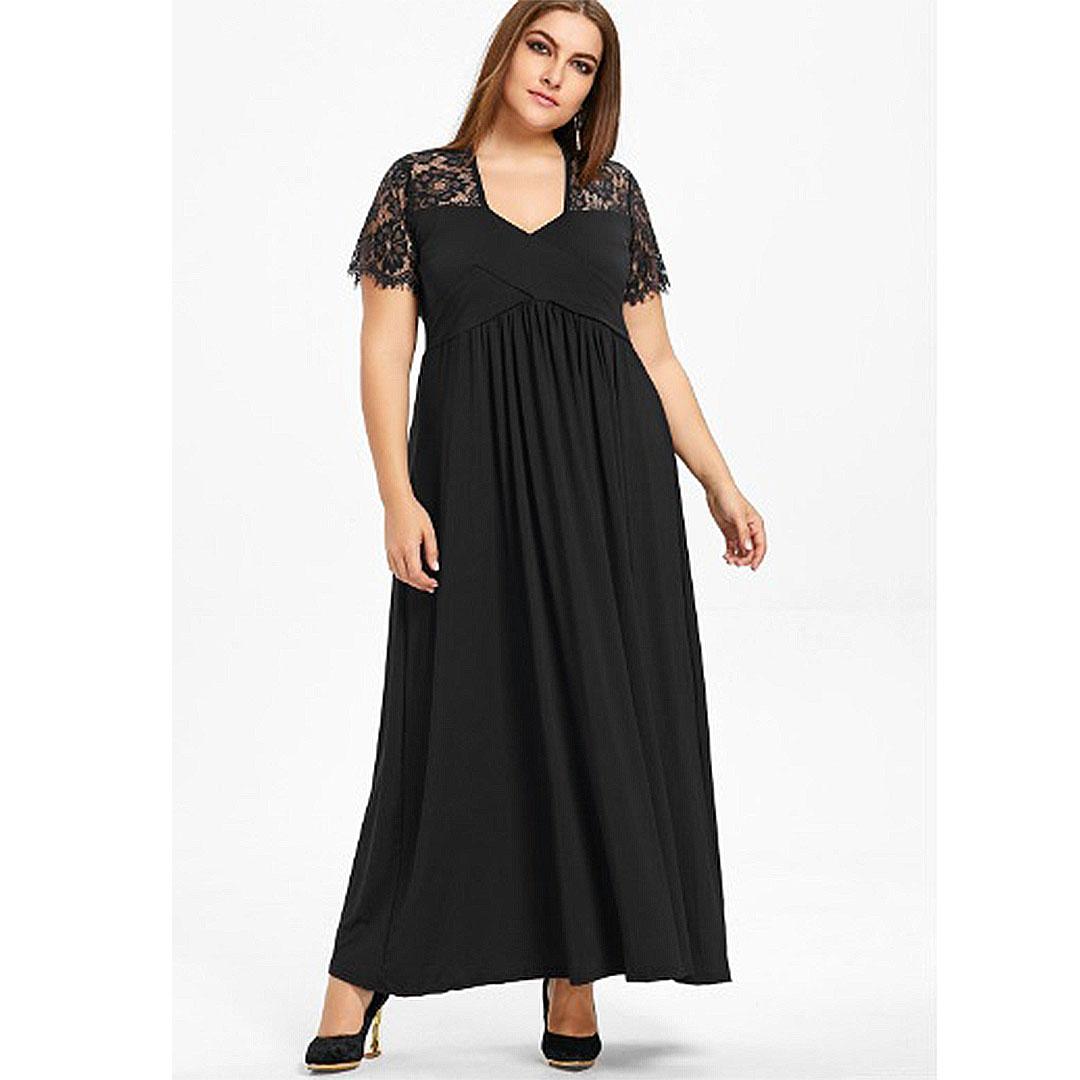 women-plus-size-casual-empire-waist-maxi-dress-a-line-fit ...