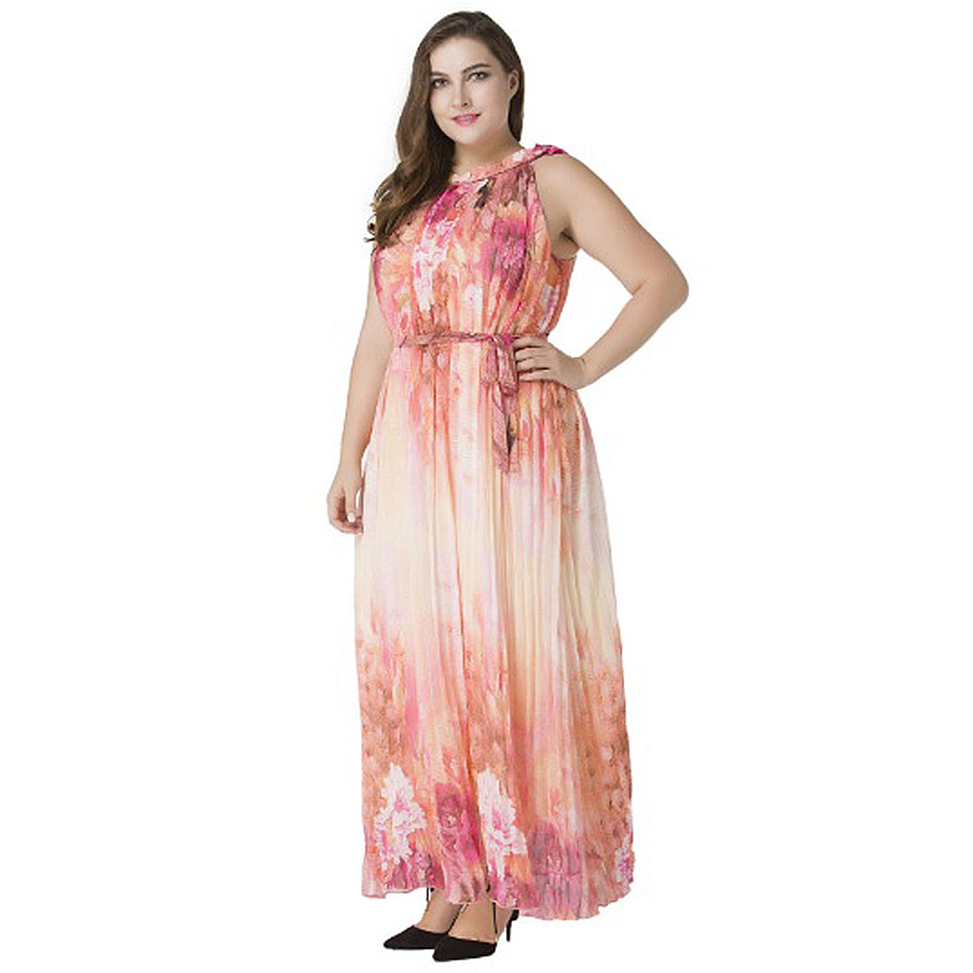 Plus Size Women Floral Print Party Casual Chiffon Pleated Maxi Dress ...