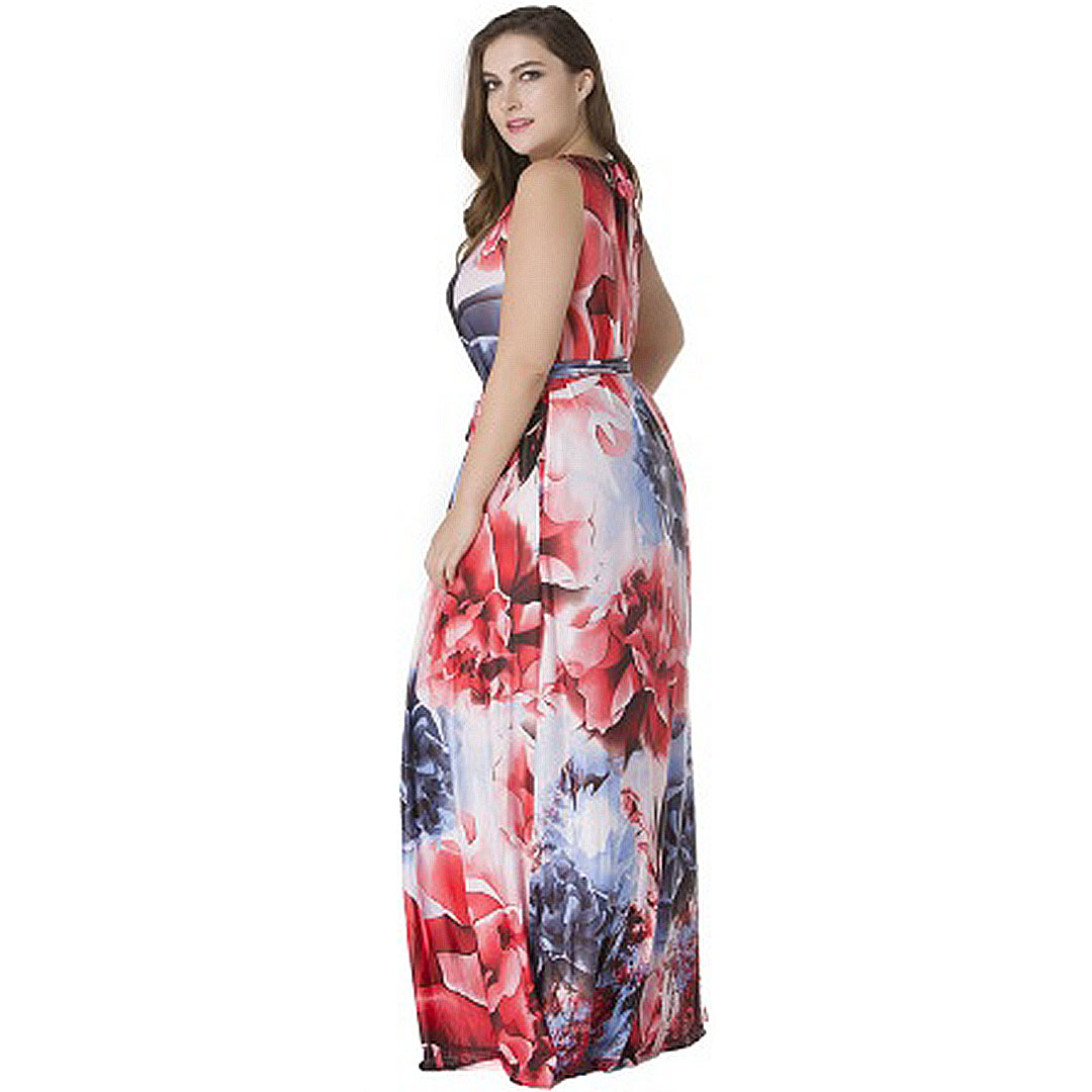 b5418a393c3 Plus Size Women Red Sleeveless Party Long Casual Floral Maxi Dress ...