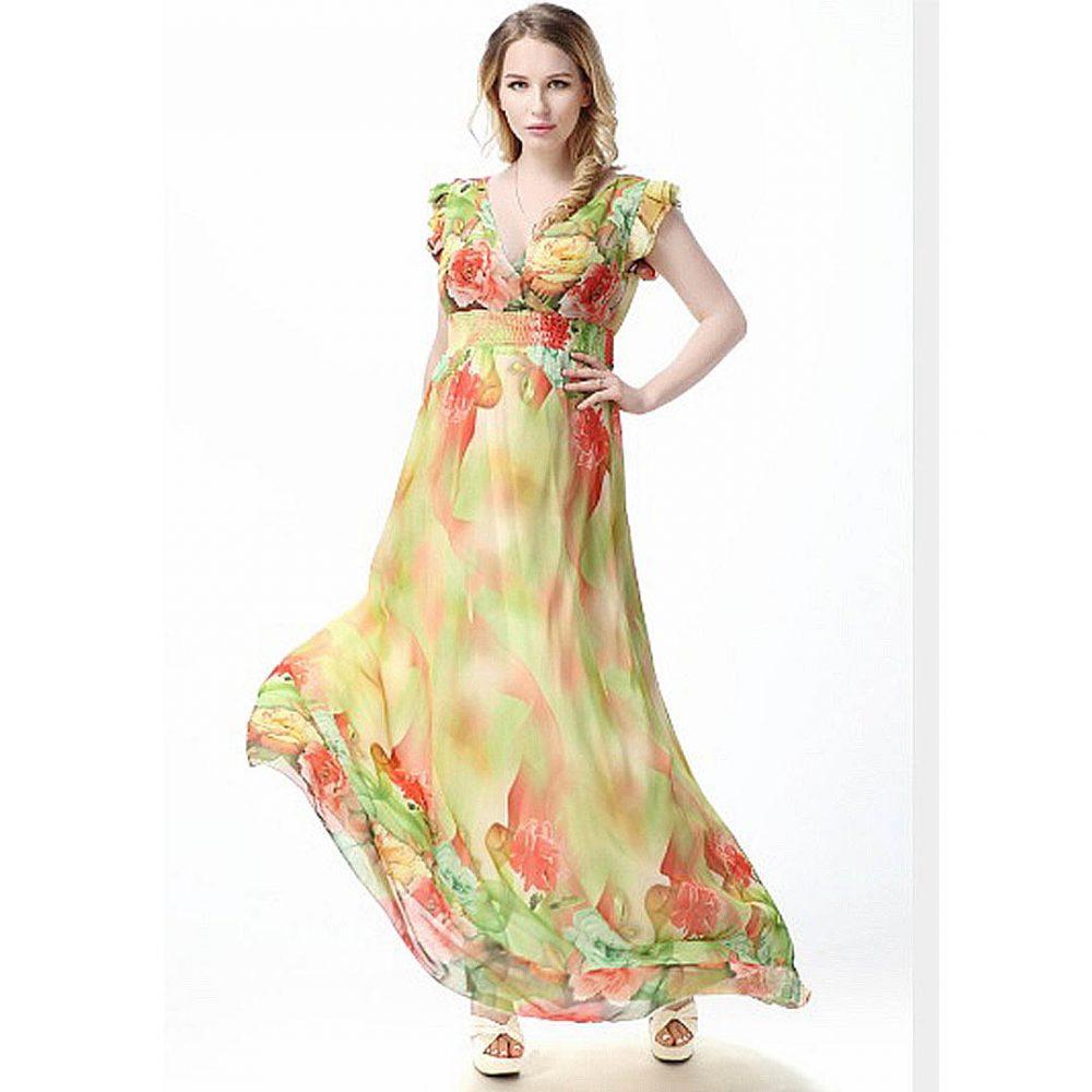 e522e225b61 Sexy V Neck Cap Sleeve Floral Chiffon Plus Size Long Maxi Dress ...