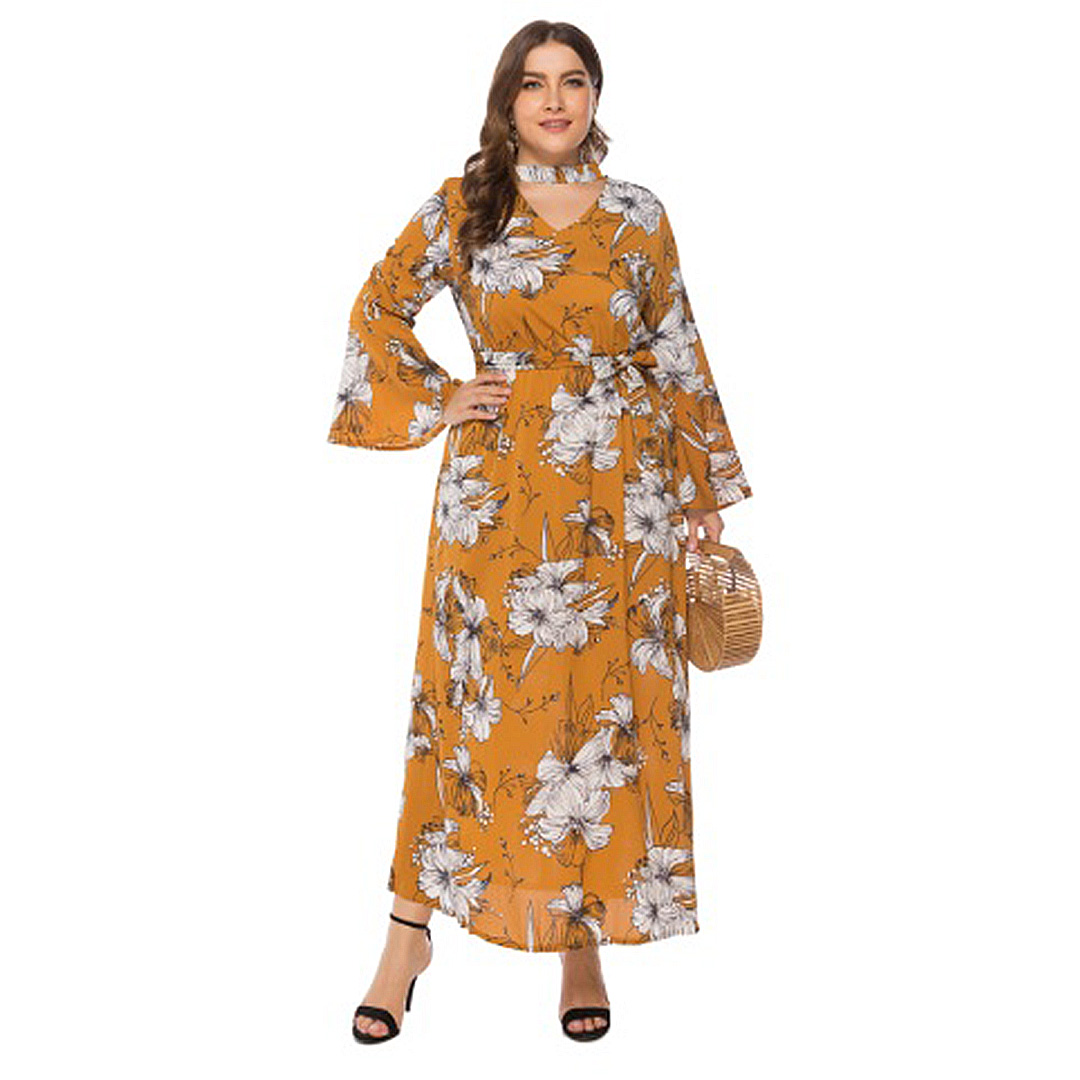 Plus Size Women Mustard Yellow Floral Print Beach Sundresses with Sleeves