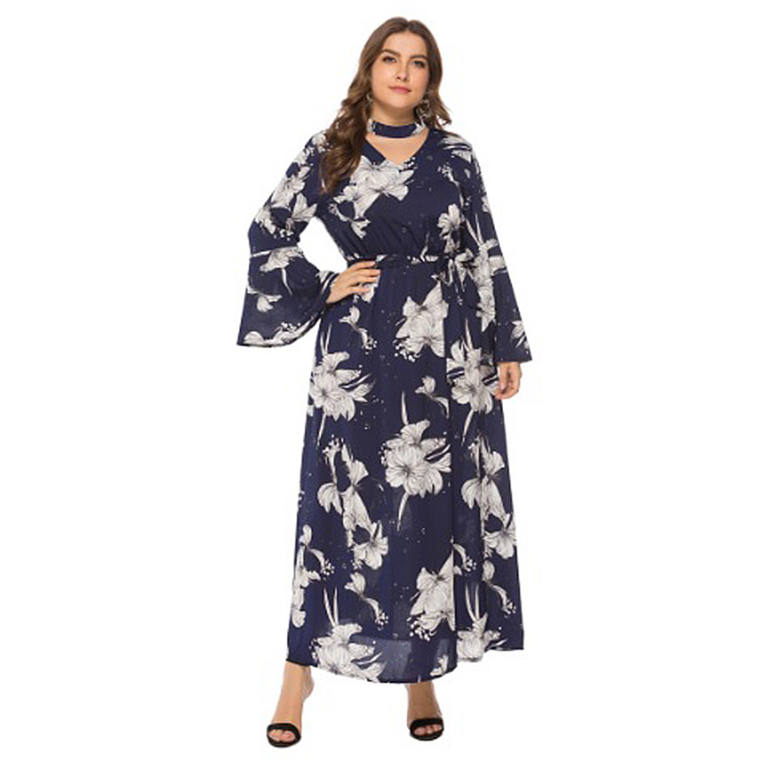 7886127f1db1 Spring Collection 2019 Plus Size Women Long Sleeve Boho Maxi Dress ...