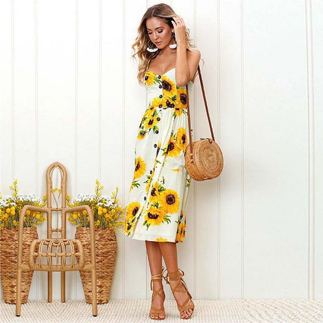 147a843fffc Women White Sunflower Print Summer Spring Casual Sleeveless Dress ...