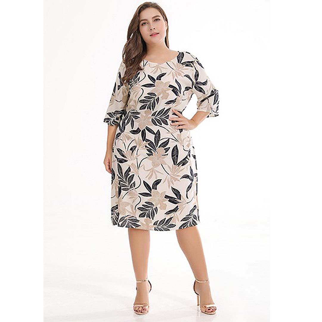 Almond 3/4 Sleeve Leaf Print Sheath Casual Work Plus Size Dress ...