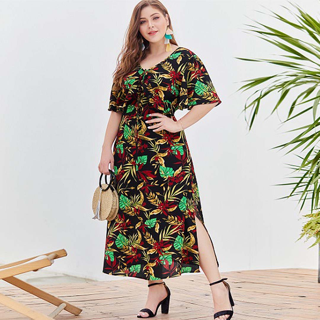Plus Size Women Black Tropical Leaf Print Cheap Casual Long Sundress ...