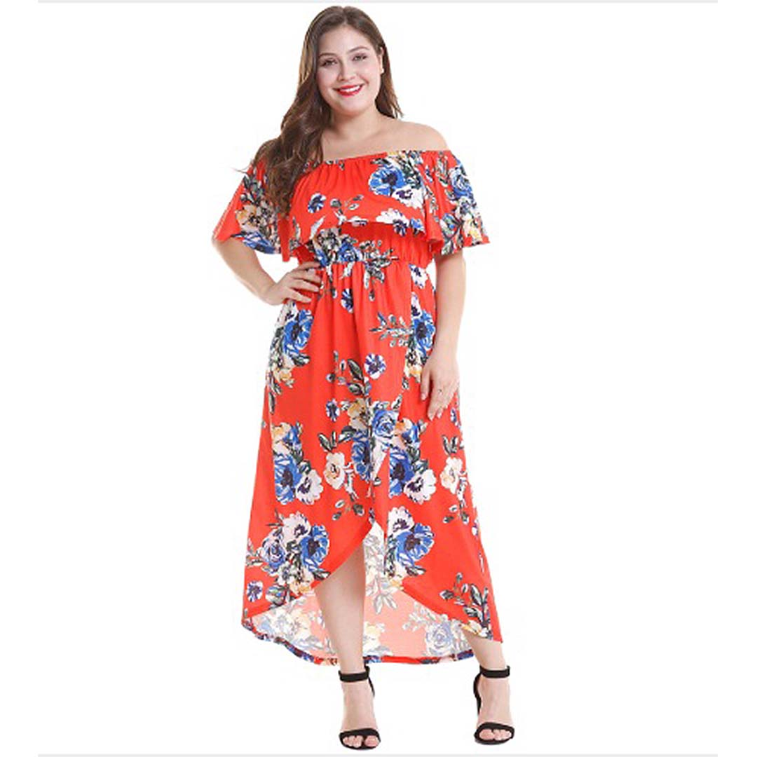 Plus Size Women High Low Summer Beach Casual Off the Shoulder Maxi Dress