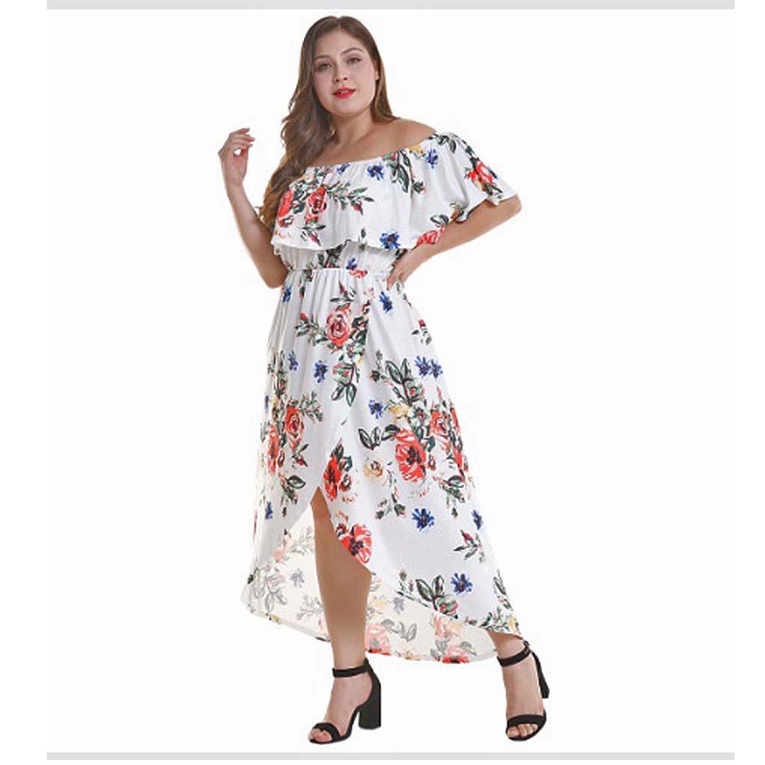 Plus Size Women High Low Summer Beach Casual Off the Shoulder Maxi Dress