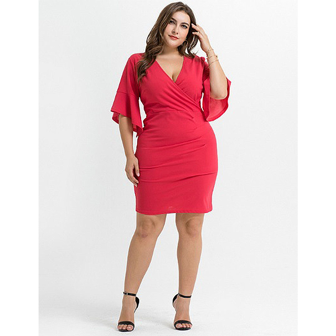 114c92d9f8718 Red Plus Size Party Club Sexy Hot Deep V Neck Bodycon Dress ...