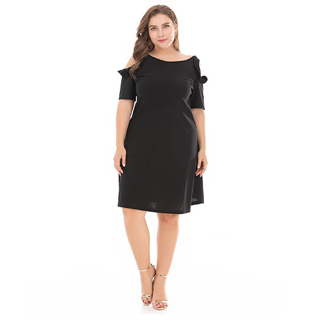 Ruffles Sleeve Casual Party Plus Size Black Cold Shoulder Dress