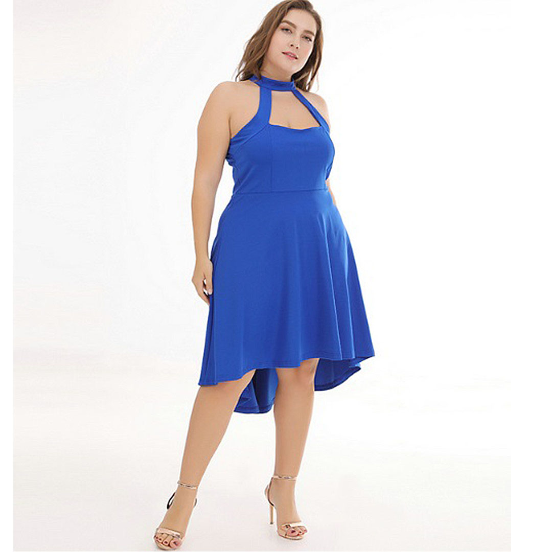 Women Blue Halter Prom Cocktail Plus Size Wedding Guest