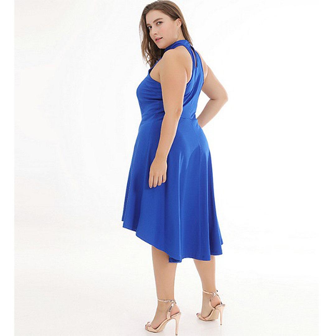387158c623d950 Women Blue Halter Prom Cocktail Plus Size Wedding Guest High Low ...