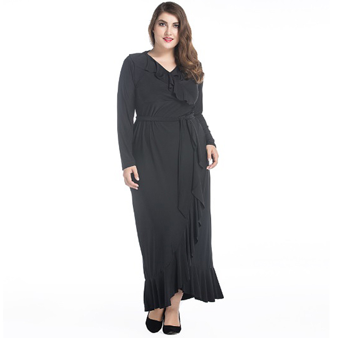Women Plus Size Ruffle Casual Party Black Maxi Dress with Sleeves ...