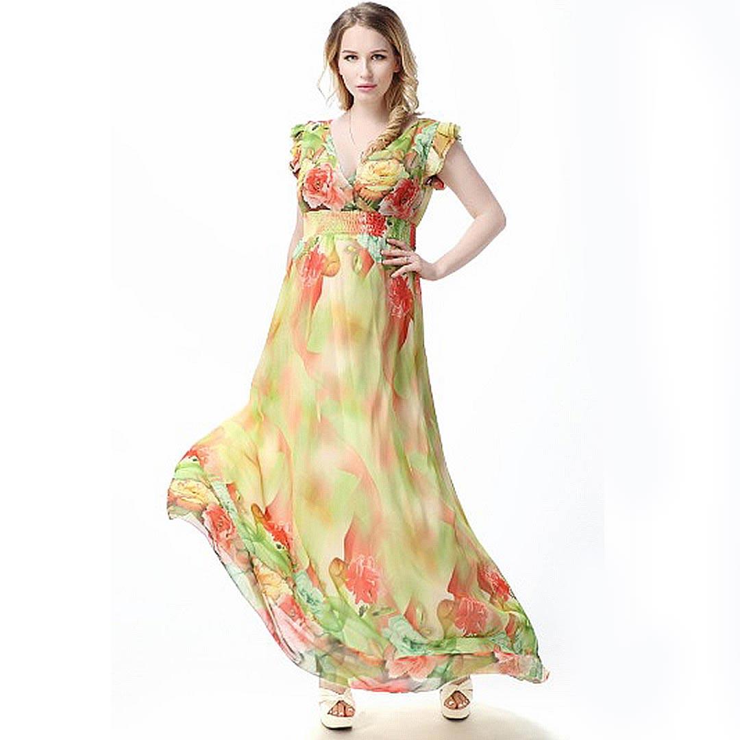 a8f508de022 Sexy V Neck Cap Sleeve Floral Chiffon Plus Size Long Maxi Dress ...