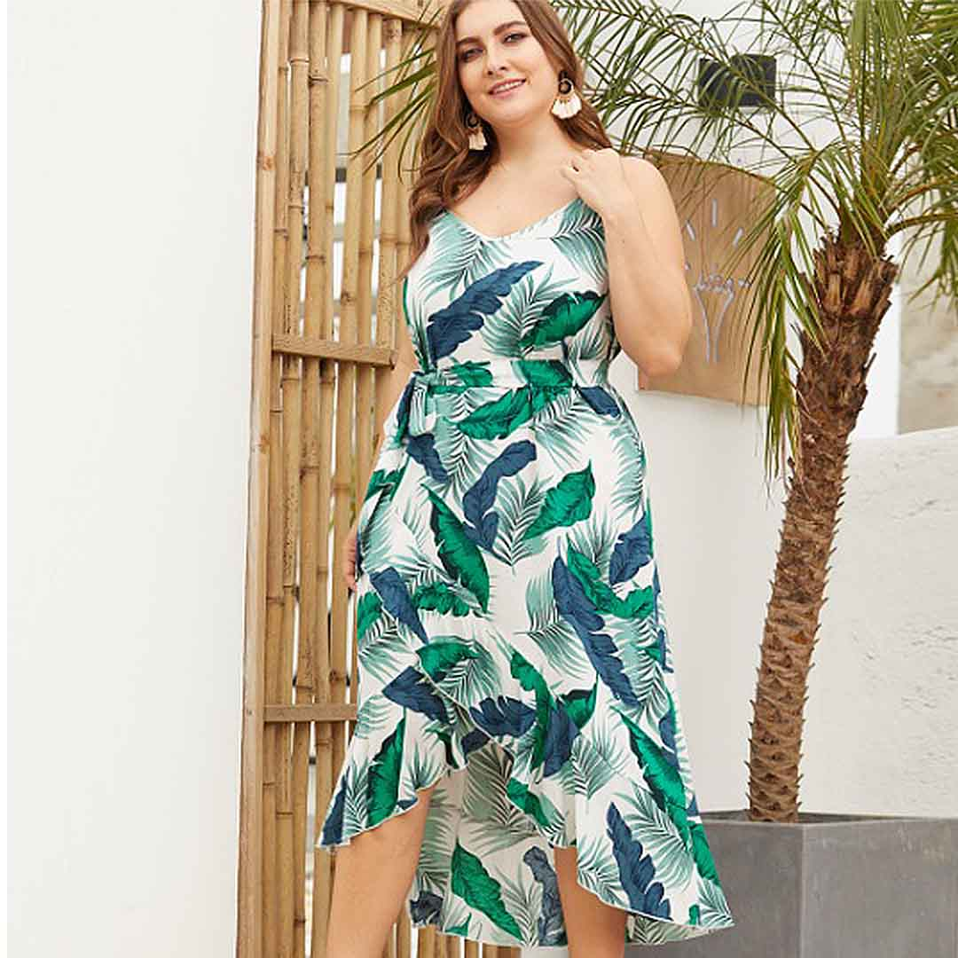 bf6d2ea91c1 Green Leaf Print Sexy V Neck Summer Casual High Low Plus Size Dress ...