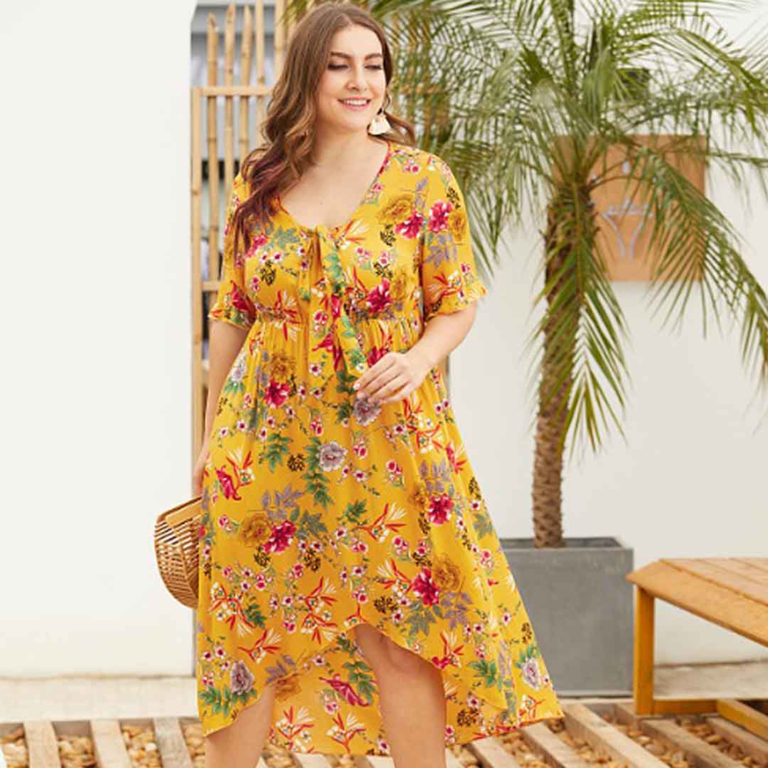 Mustard Yellow Floral Party Casual Stretch Plus Size High Low Dress
