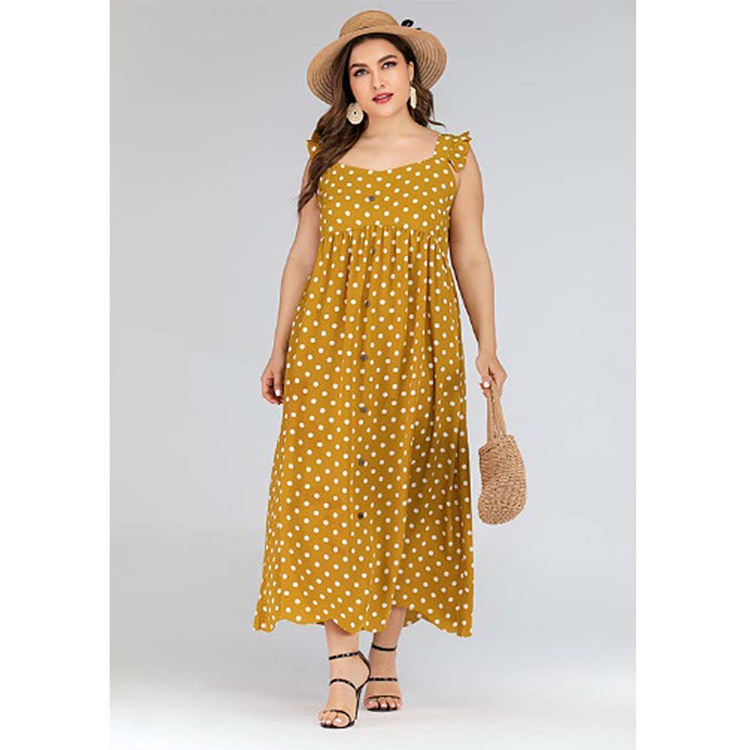 Mustard Yellow Polka Dot Long Summer Beach Plus Size Maxi Dress