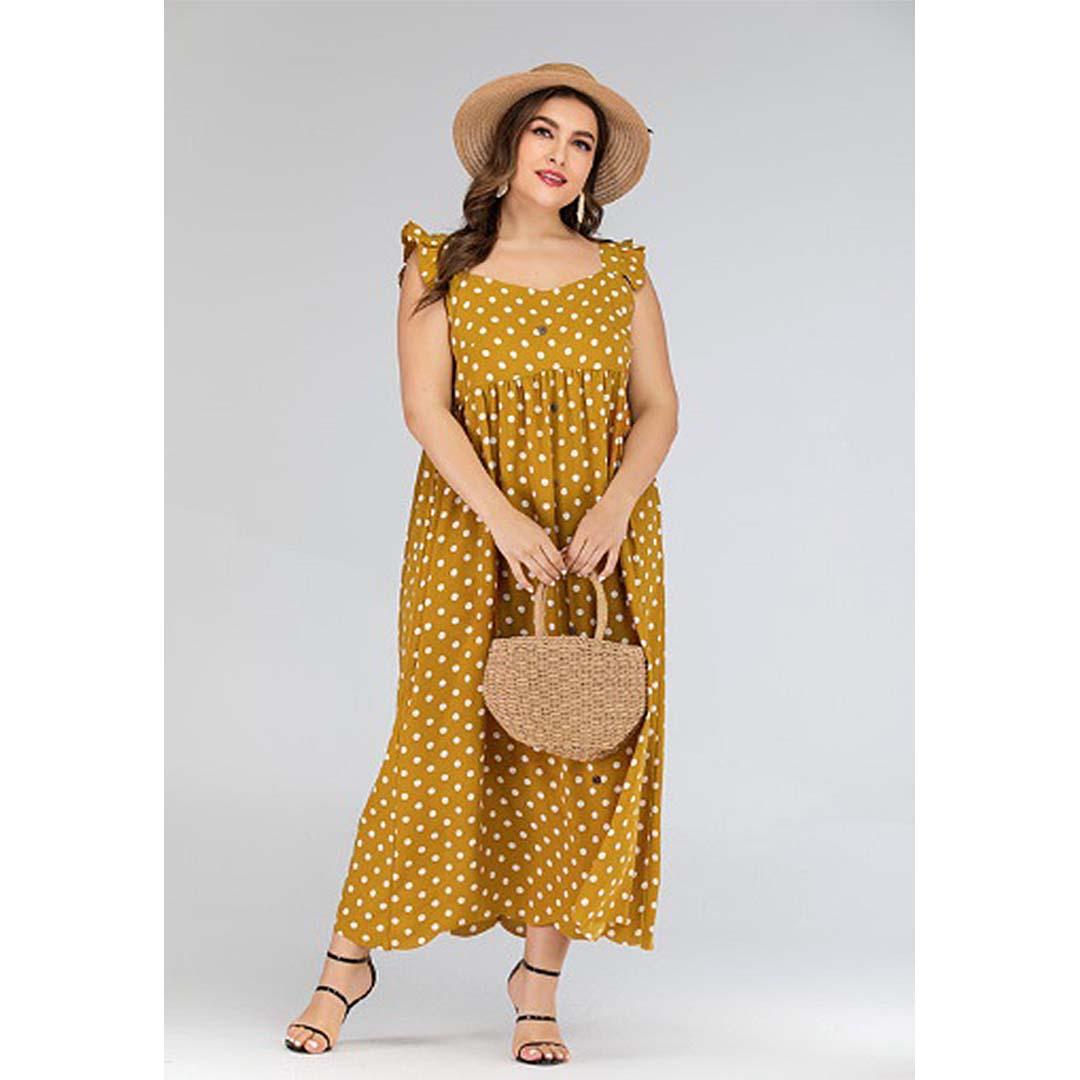 Mustard Yellow Polka Dot Long Summer Beach Plus Size Maxi Dress