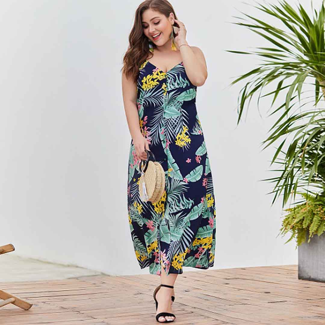 Navy Blue V Neck Floral Palm Tree Summer Beach Long Plus Size Dress