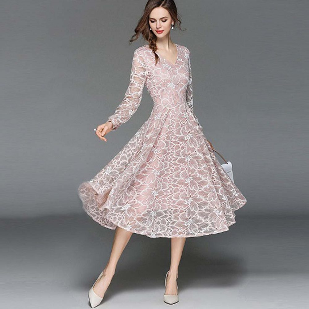 Floral Long Sleeve Wedding Guest Dress Saddha