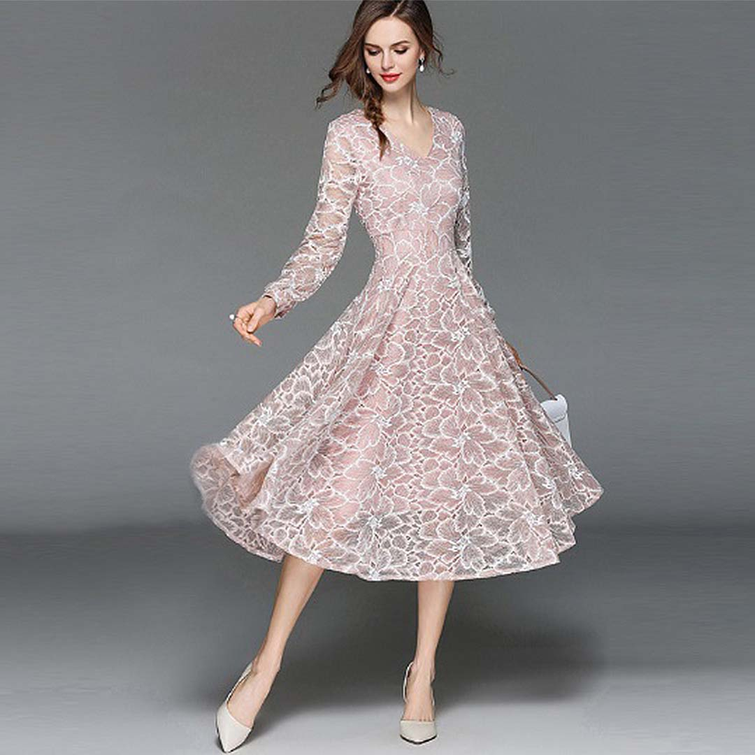 Pink Floral Lace Midi Elegant Wedding Guest Evening Long Sleeve Dress