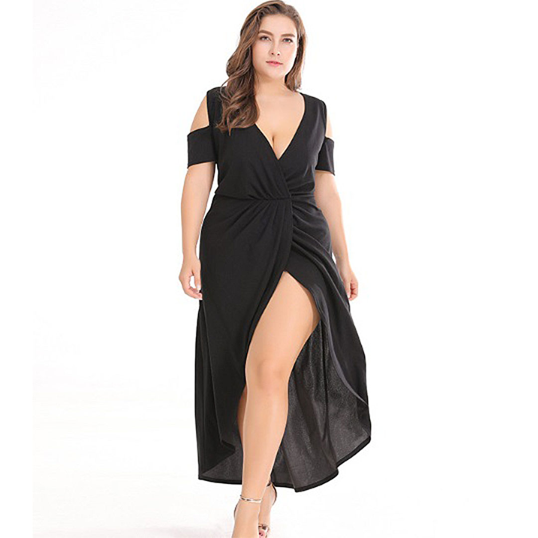 Plus Size Black Plunge Neck Cold Shoulder Dresses with Slits in the Front