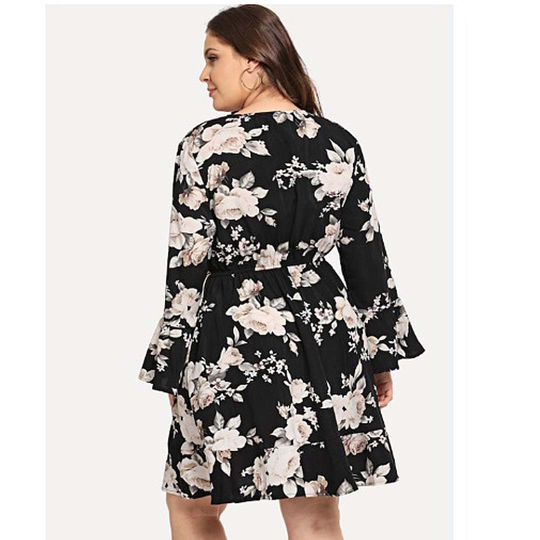 Plus Size Women Club Work Party A Line Floral Bell Sleeve Dress