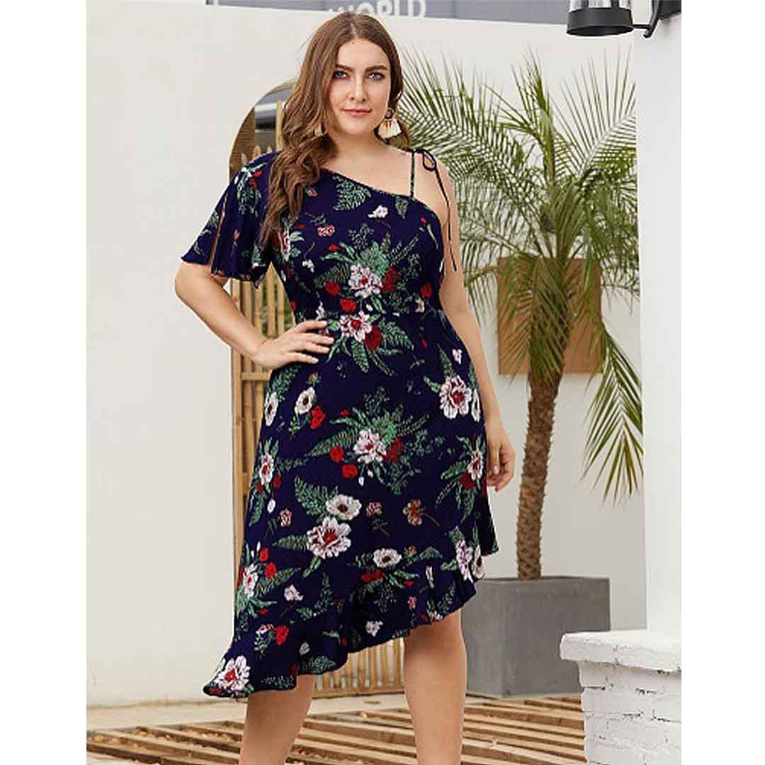 Plus Size Women Oblique Hemline Ruffle One Shoulder Floral Dress