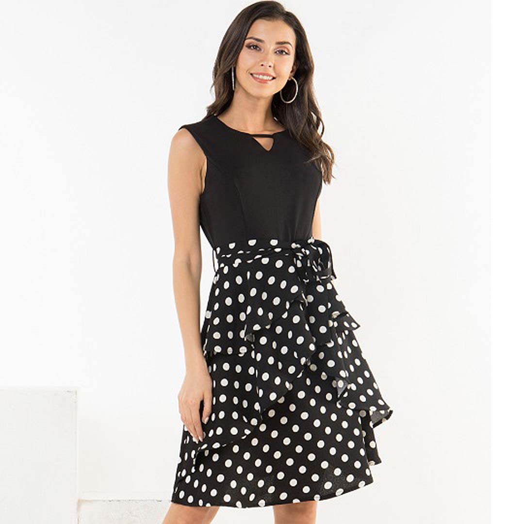 Women Black Polka Dot Tiered Ruffle Slimming A Line Work Dresses