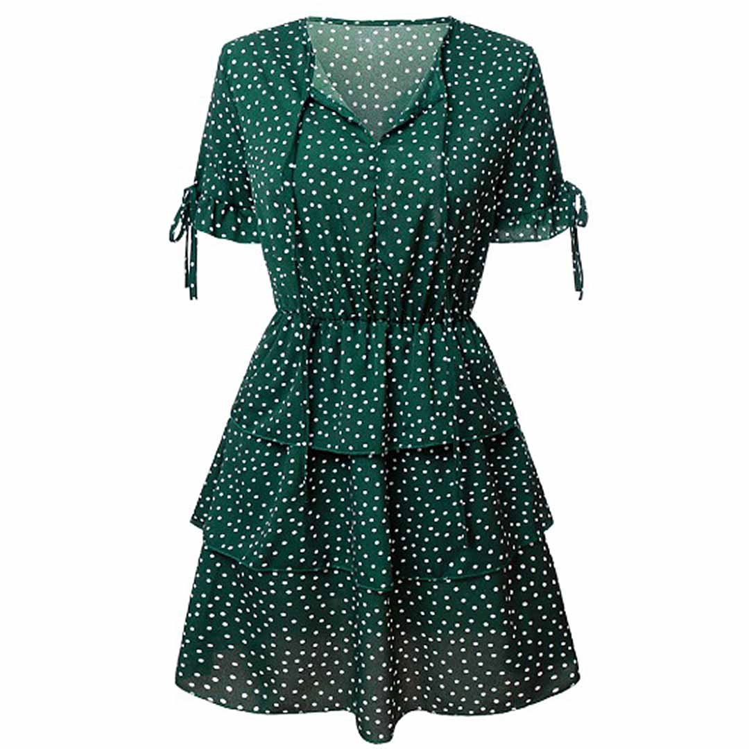 Women Green Polka Dot Casual Party A Line Tiered Dress
