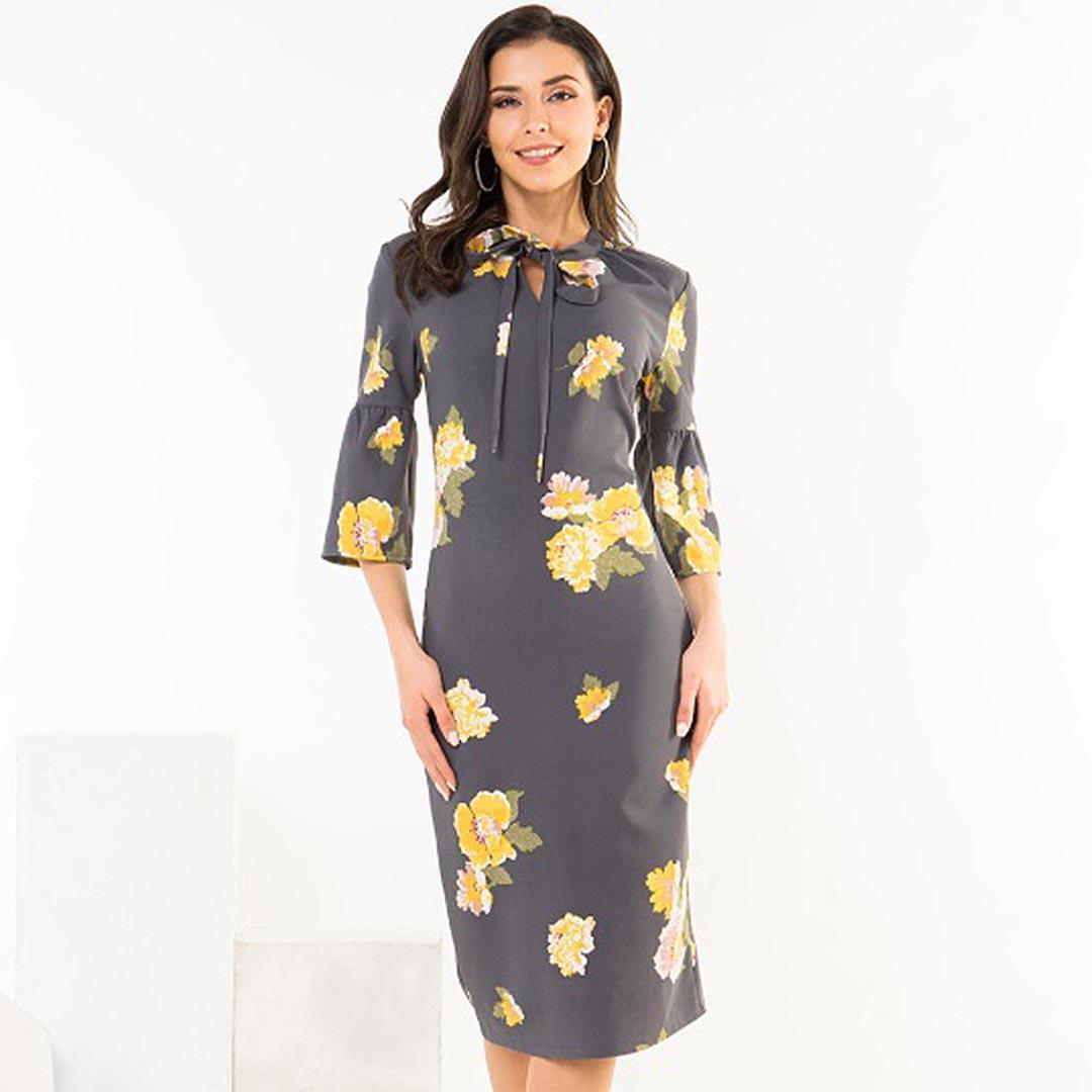 Women Grey Floral Midi Sheath Work Career Dresses with Sleeves ...