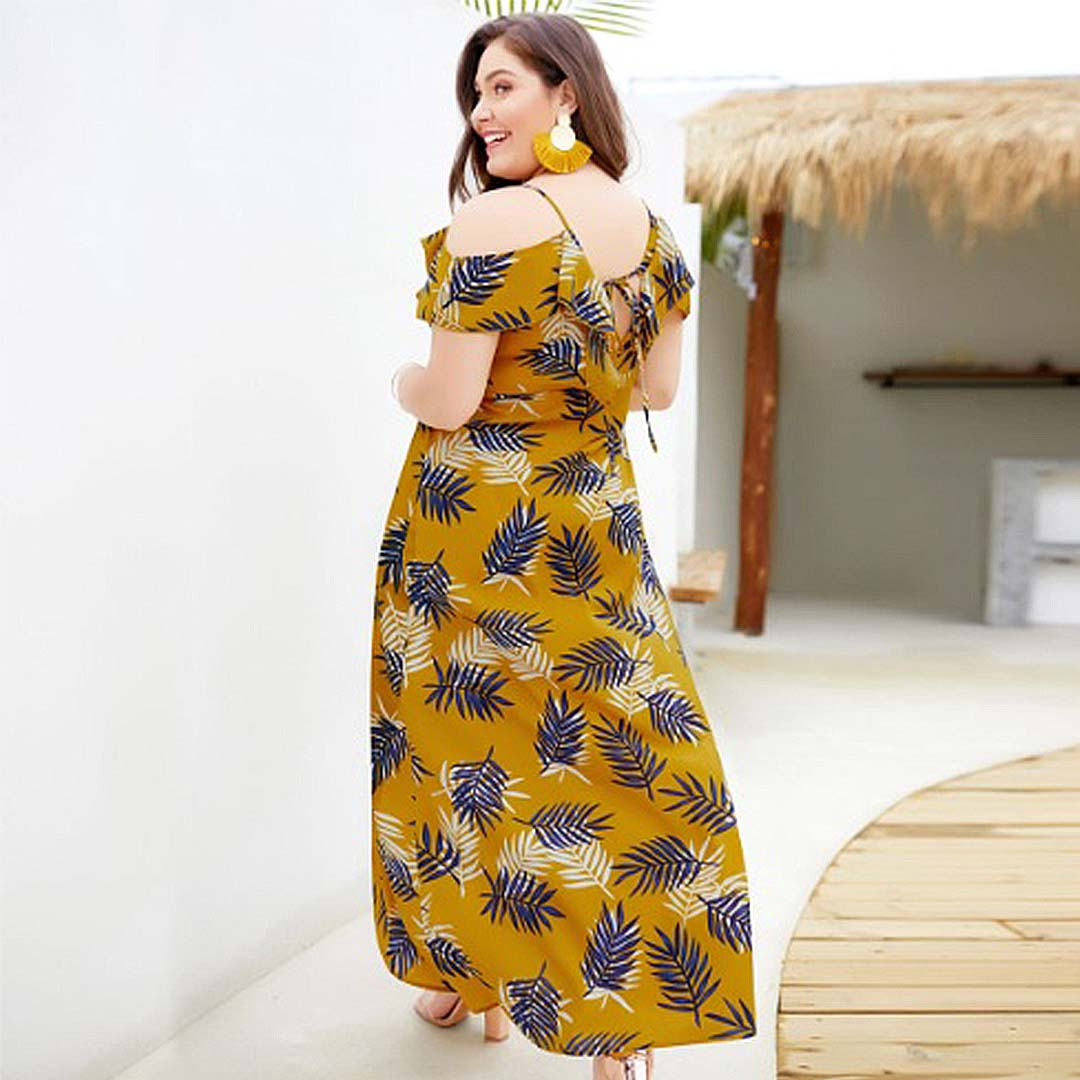 Women Mustard Yellow Leaf Print Plus Size Maxi Dress with Slits in the Front