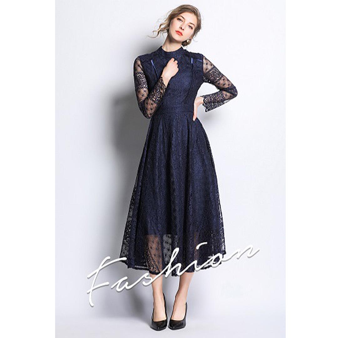 Women Navy Blue Lace Up Long Sleeve Wedding Guest Sheer Midi Dress