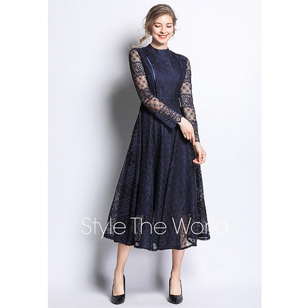 Women Navy Blue Lace Up Long Sleeve Wedding Guest Sheer Midi Dress Apricus Fashion Premiere Women S Fashion At Affordable Prices,Winter Wedding Guest Dresses 2020 Uk