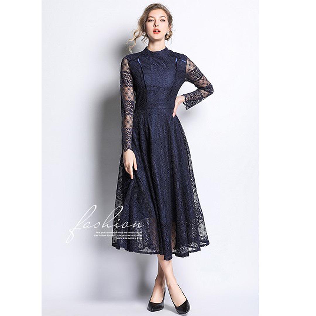 women navy blue lace up long sleeve wedding guest sheer