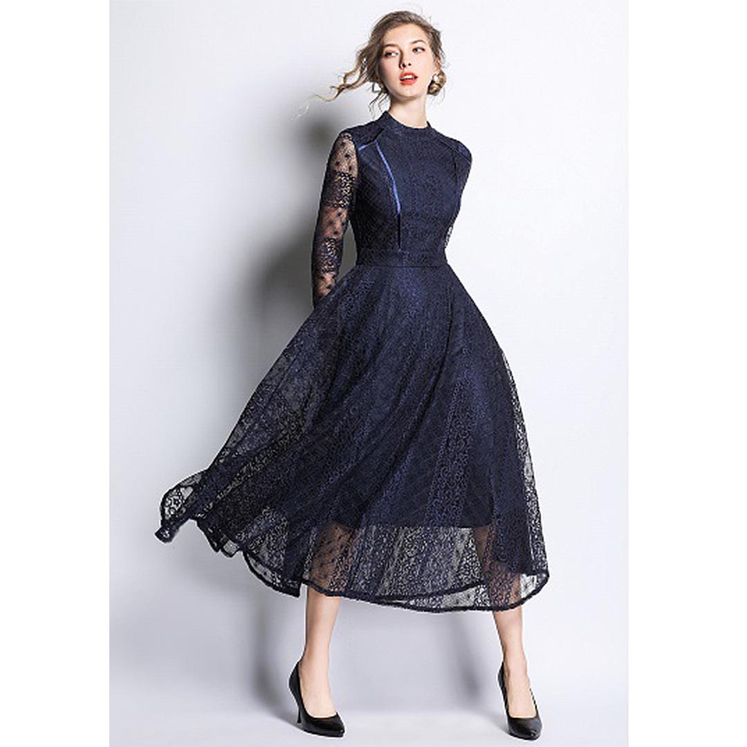 women navy blue lace up long sleeve wedding guest sheer
