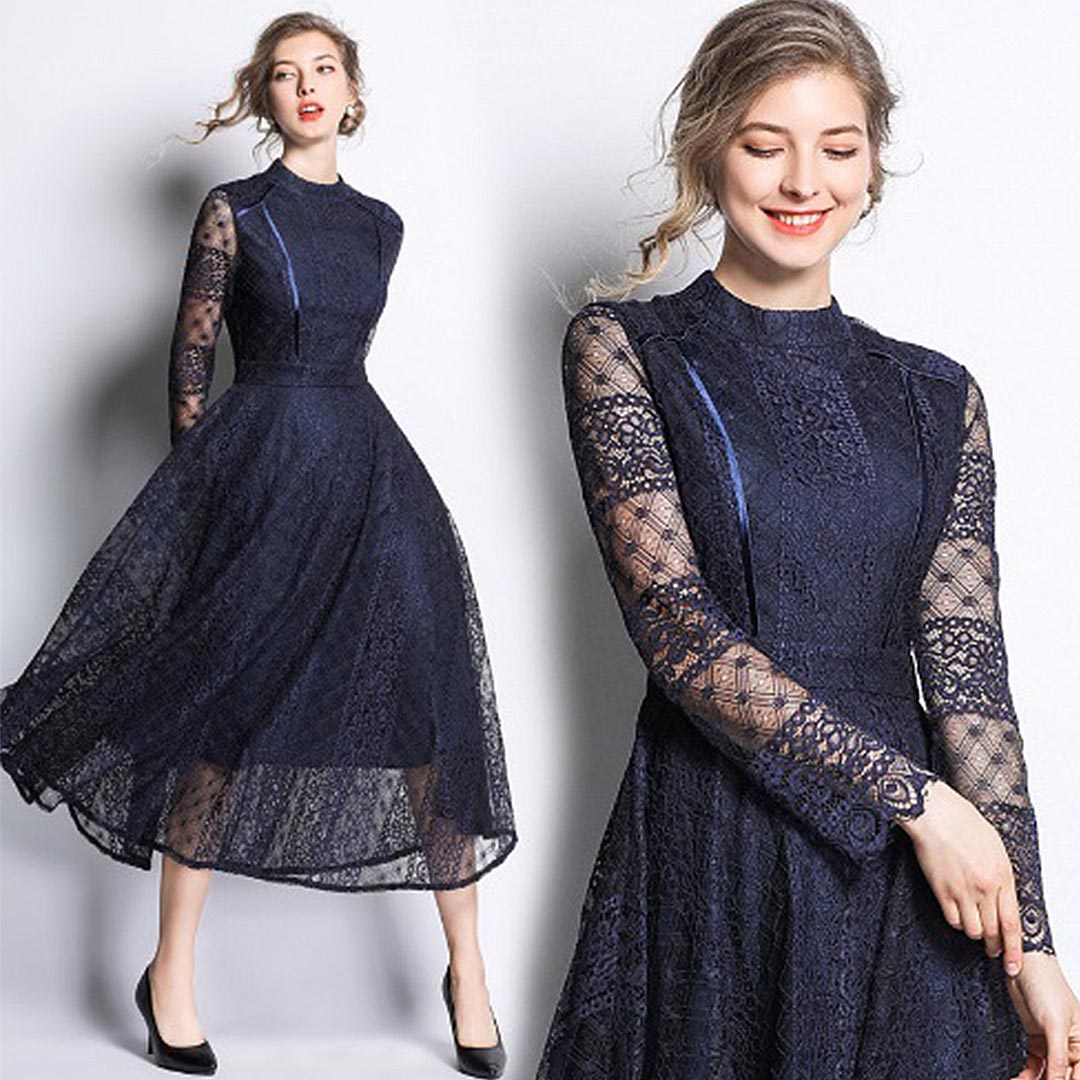 Women Navy Blue Lace Up Long Sleeve Wedding Guest Sheer Midi Dress Apricus Fashion Premiere Women S Fashion At Affordable Prices,Plus Size Black Dress For Wedding Guest