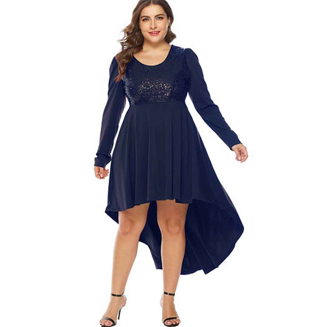 Navy Blue Semi Formal Sequins High Low Plus Size Cocktail Dress