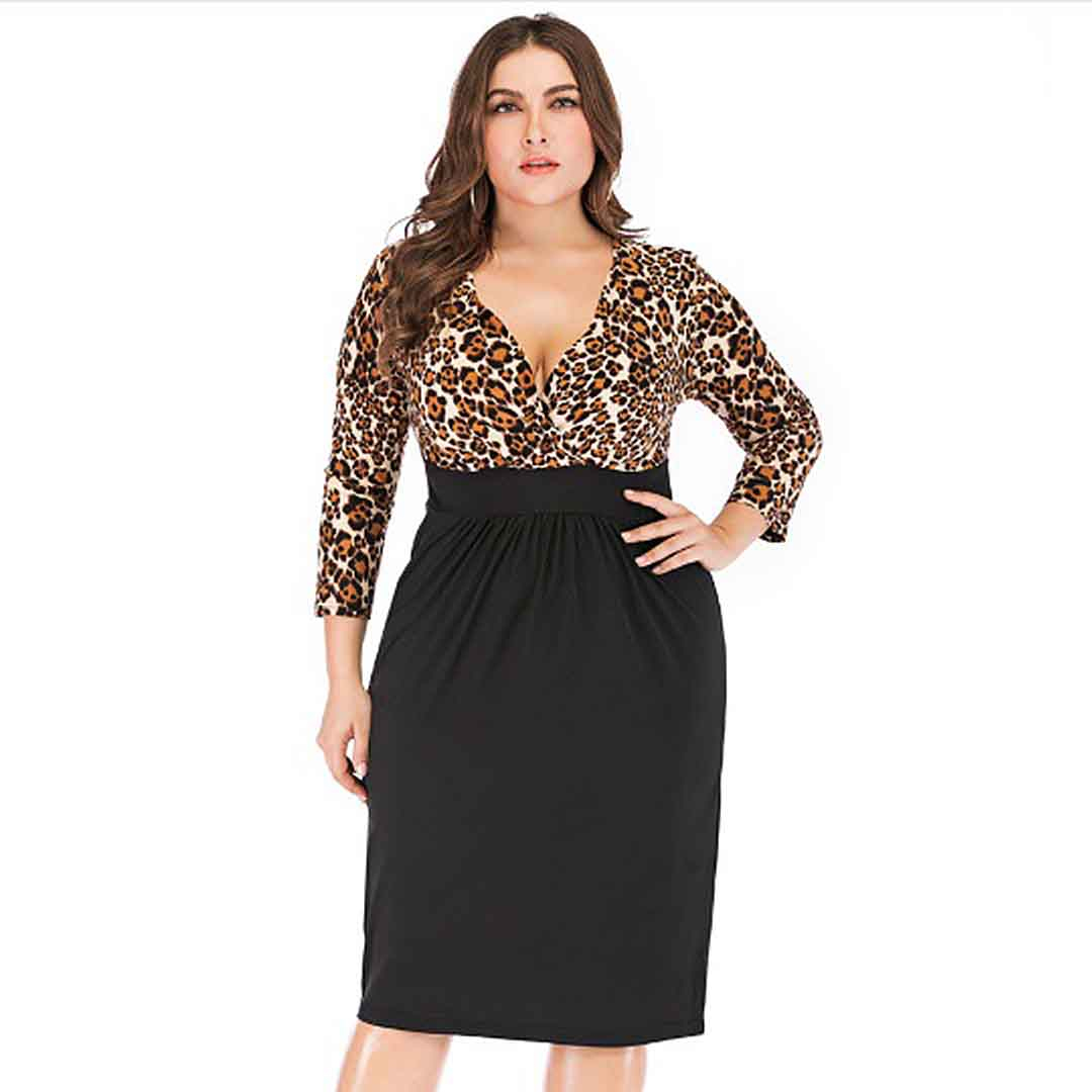 Plus Size Black Long Sleeve Leopard Print Deep V Neck Bodycon Dress