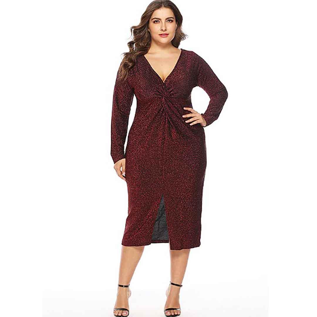 Plus Size Deep V Neck Twist Front Elegant Shining Evening Dresses ...