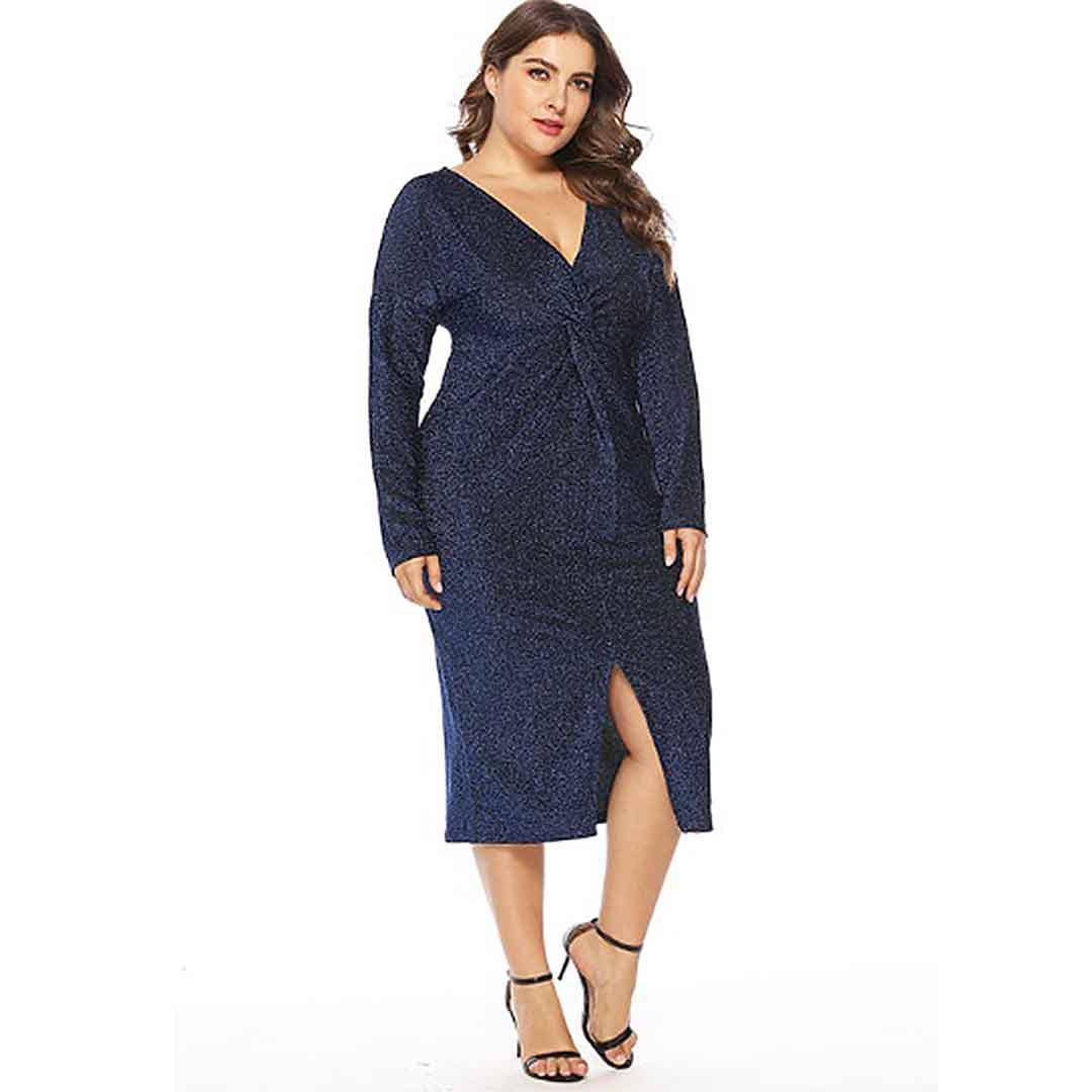 Plus Size Deep V Neck Twist Front Elegant Shining Evening Dresses