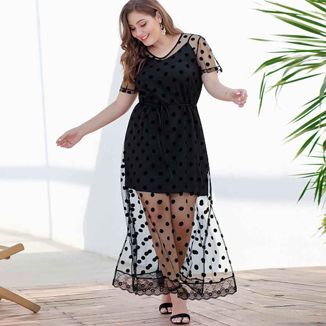 Plus Size Polka Dot See Thru Casual Long Maxi Dress with Sleeves