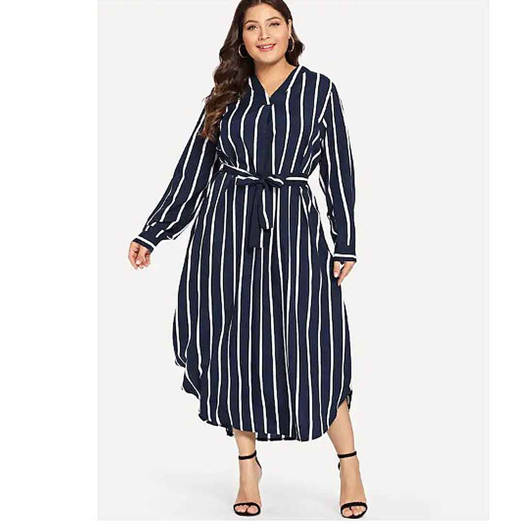 Plus Size Women Long Striped Casual Holiday Outfit Dresses with Sleeves