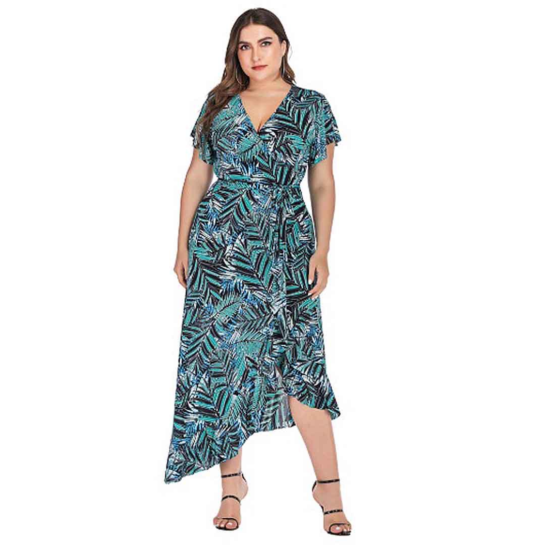 Plus Size Women Palm Tree Leaves High Low Ruffle Long Maxi Dress ...