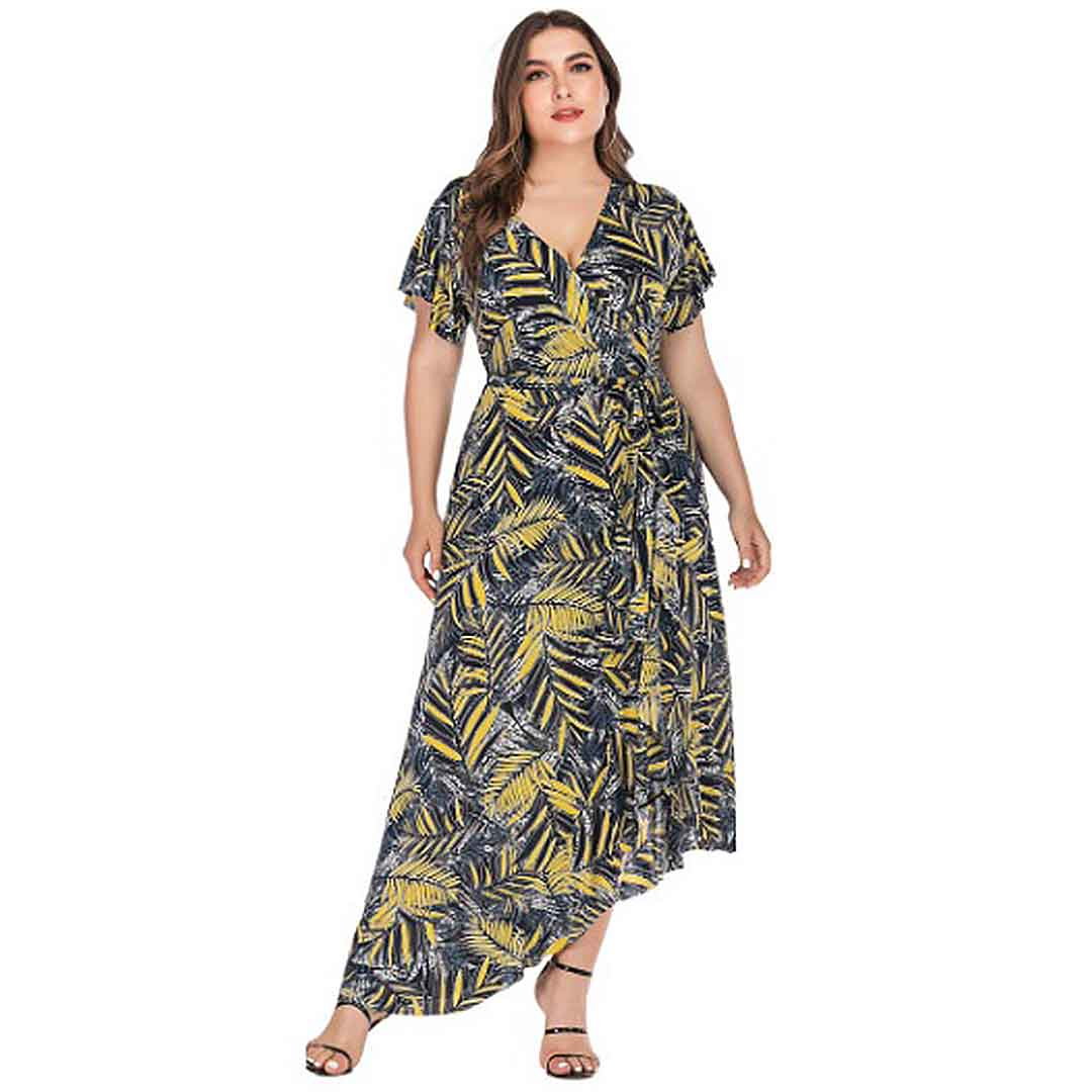 Plus Size Women Palm Tree Leaves High Low Ruffle Long Maxi Dress