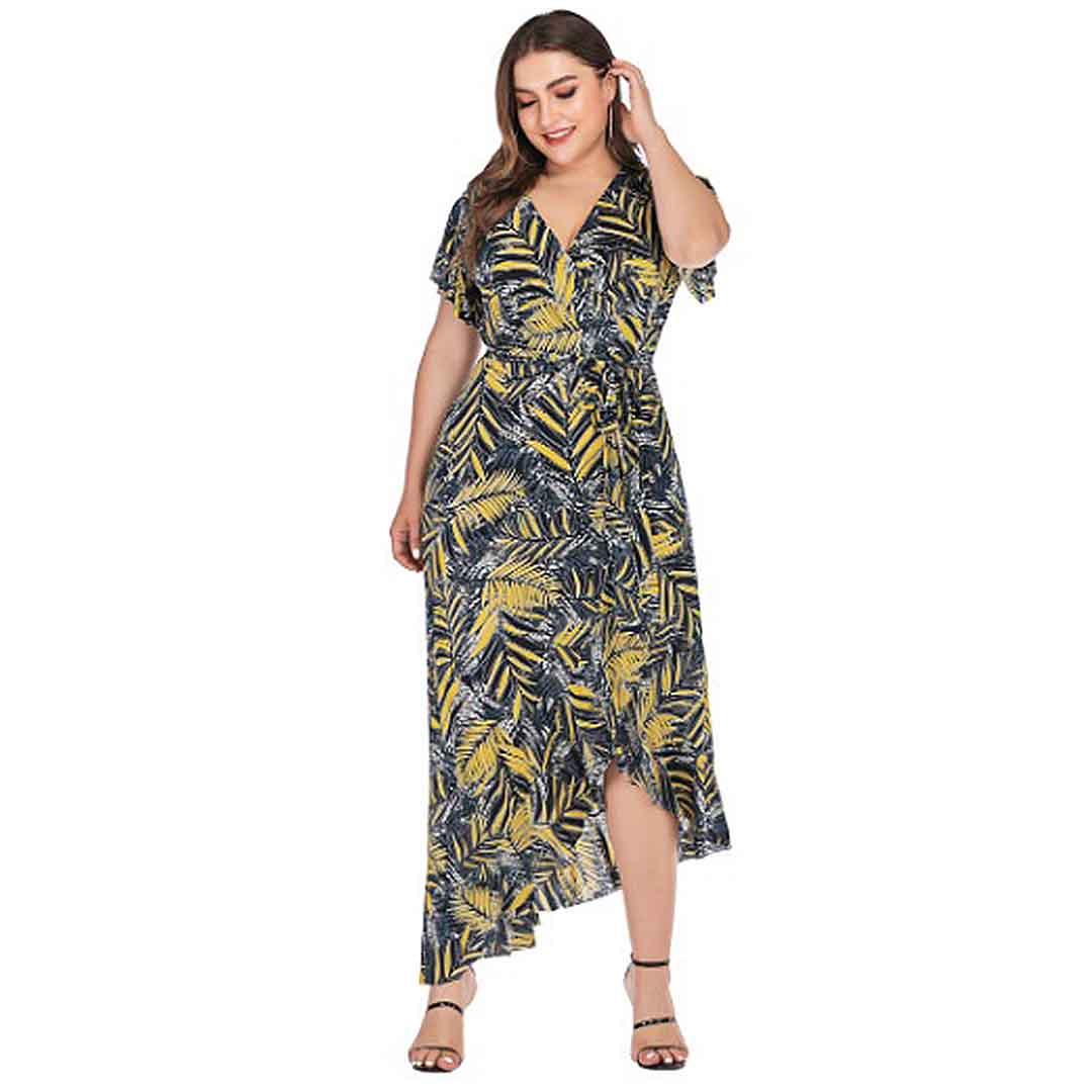 Plus Size Women Palm Tree Leaves High Low Ruffle Long Maxi Dress