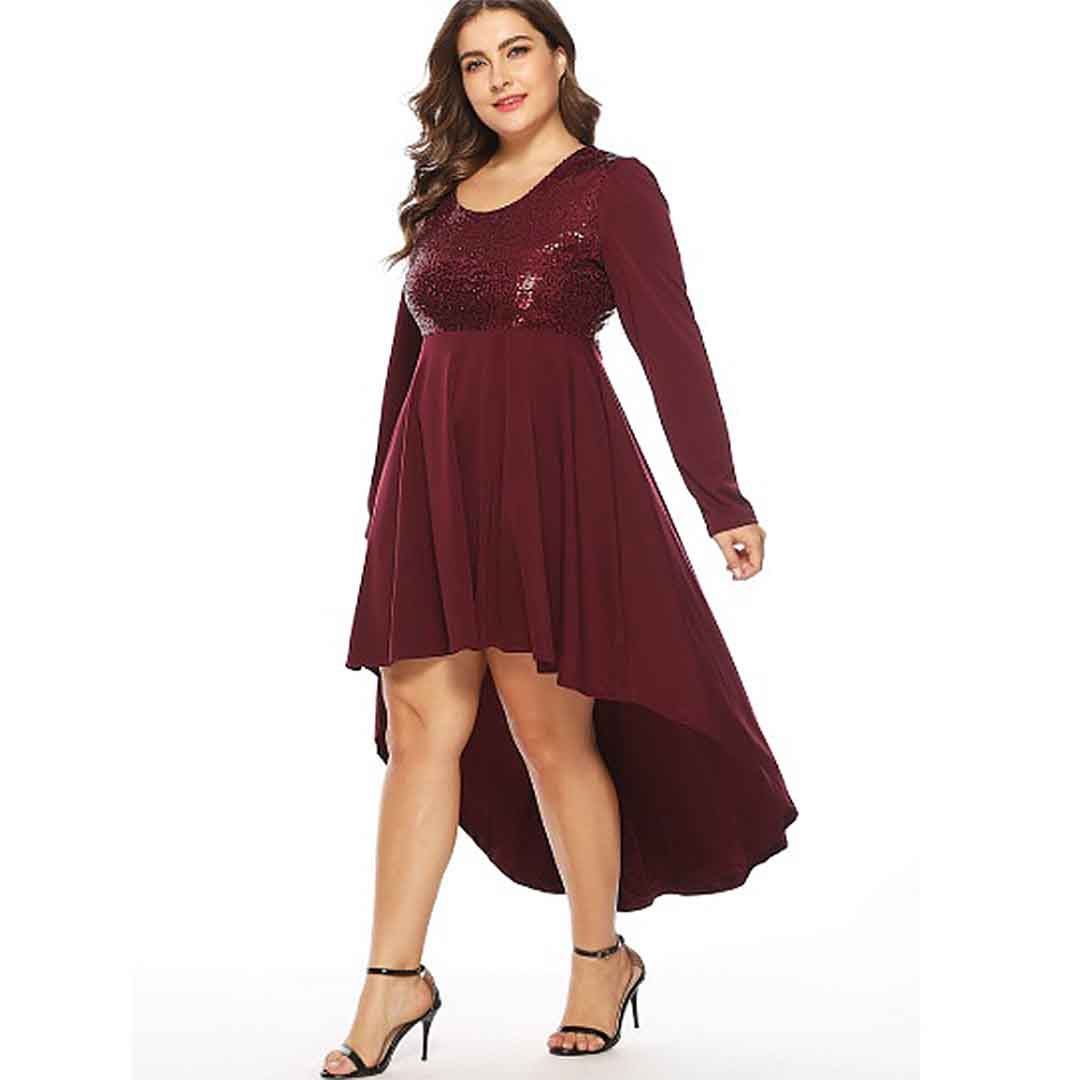 Maroon Stunning Plus Size High Low Wedding Guest Dress with Sleeves ...